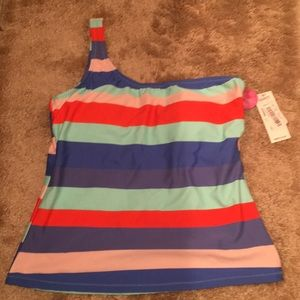 NWT Raisins bikini swim top striped L 1 shoulder
